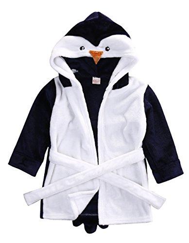 Glosun Baby Coral Fleece Bathrobe Toddler Kids Hooded Terry Robe Cartoon Animal Pajamas Sleepwear Bath Wrap (4T, Blue Penguin)