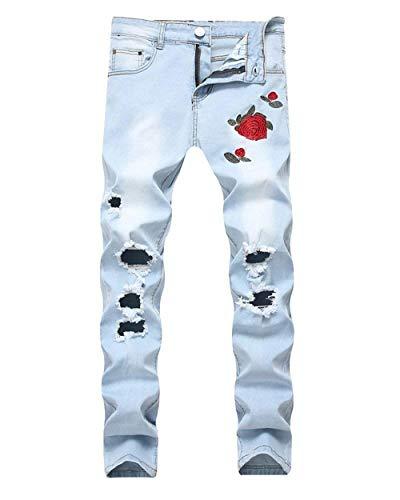 Biker Cher Uomo Motociclista Slim Destroy Pantaloni Fit Ragazzo Holes Jeans Aspicture Ricamati Ripped Da fBPwq