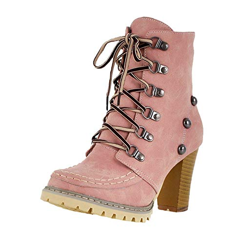 01710b1208cd0 Faionny Women Boots High Heel Ankle Boots Lace Up Rivets Shoes Non-Slip Ski  Boots Short Tube Shoe Boots Warm Snowshoes Pink