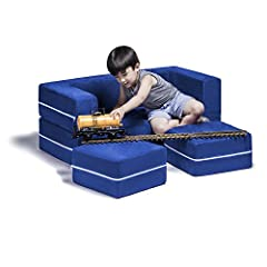 The Zipline Modular Kids Loveseat with two matching ottomans is a fun and functional addition to any kid's room. Comprised of lightweight, highly durable polyurethane foam, this loveseat has a 3-tiered multifunctional design that creates the ...