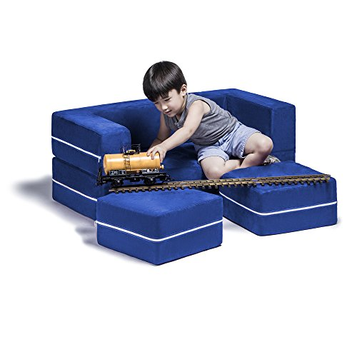 Zipline Modular Kids Loveseat with Ottomans, Blueberry