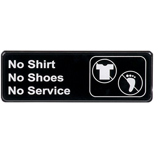 "No Shirt, No Shoes, No Service Sign Door Plate for Cafe Restaurant - Black and White, 9"" x 3"" from AborenCo"