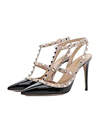 Chris-T Women Pointed Toe High Heels Studded Strappy Slingback Stilettos Leather Sandals Pumps 4-14