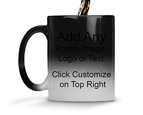 DIY Custom Personalized Photo Picture and/or Text Coffee 11 and 15 Ounce Mugs | Add Your Own Photo or Image or Text | No Minimums - Double Sided for Same Price (Color Changing Mug, 11 Ounce) ()