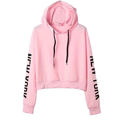 York Pink Womens New T-shirt (Hooded Sweatshirt,Women Crop Top Long Sleeve New York Letter Print Hoodie Tees Shirt Pullover Blouse (L, Pink))