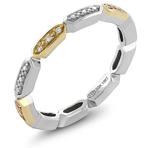 Gem Stone King 10K 2-Tone White & Yellow Gold White Diamond Ladies Vintage Style Geometric Pattern Wedding Eternity Stackable Band (Size -