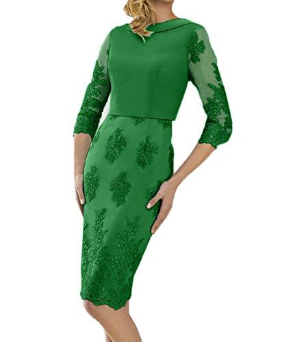 Knielang mit Etuikleider Damen Brautmutterkleider Blau Charmant Langarm Abendkleider Festlichkleider Grün Spitze xFPYCHqwwa