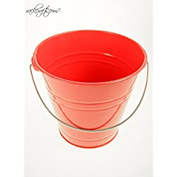 rackcrafts.com Large / XL Metal Sand Water Paint Pails Buckets Party Favor Wedding Baby Shower (XL - Coral)