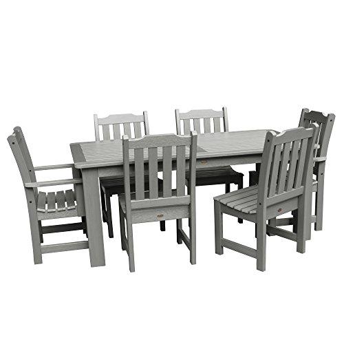 Rectangular Table Set Teak Dining (Highwood 7-Piece Lehigh Rectangular Dining Set, Coastal Teak)