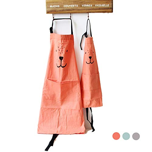 (Cotton and Linen Parent Child Apron, Simple and Lovely Apron with Pocket for Painting and Cooking, Artist Apron & Chef Apron, Pack of 2 (Orange))
