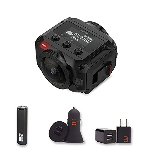 Garmin Virb 360 - Rugged, Waterproof 360-degree Camera with 5.7K/30fps Resolution and 4K Spherical Stabilization + PowerBank + USB Car Charger + USB Wall Charger, EZEE Bundle