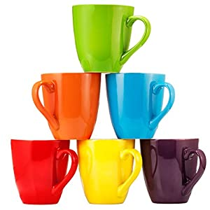 Set of 6 Large-sized 16 Ounce Ceramic Coffee Mugs from Bruntmor
