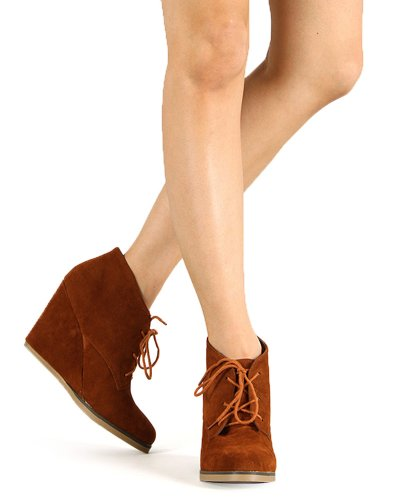 Up Women Round Toe Breeze Nature Wedge Suede Bootie Tan Lace AF49 gnTT7O6W