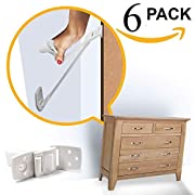 Skyla Homes - Furniture and TV Anti Tip Straps | Adjustable Earthquake Resistant Straps | Best Wall Anchor | Protection for Children | Baby Proof & Extra Strong ABS Kit (6-Pack)