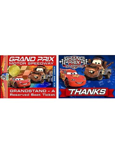 (Cars 'Grand Prix Dream Party' Invitations and Thank You Notes w/ Envelopes)