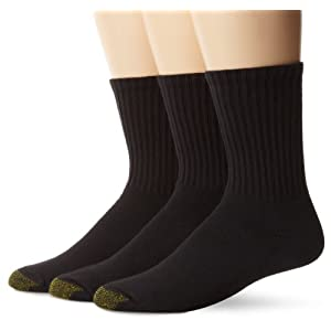 Gold Toe Men's Ultra Tech Short Crew Sock, 3 Pack, Black, Sock Size:10-13/Shoe Size: 6-12