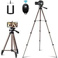 Flexible Tripod,127 cm Extendable Lightweight Tripod Stand with Carrying Bag,Universal Tripod for Cell phone Camera and Gopro Devices,Come with Wireless Remote and Holder Mount for iPhone,Samsung Galaxy,etc.