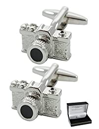 COLLAR AND CUFFS LONDON - PREMIUM Cufflinks WITH GIFT BOX - High Quality - SLR Camera - Solid Brass - Perfect For Photography Lovers - Reflex Photo Film Shutter - Silver Colour