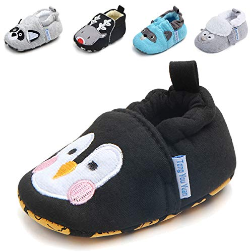 Baby Boys Girls Slippers Cartoon Socks Shoes Soft Sole Toddler Prewalker Infant First Walker Newborn Crib Shoes (6-12 Months M US Infant, B-Penguin) ()