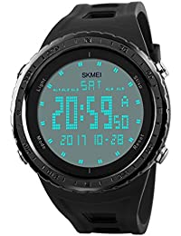 Mens Military Watch, Sports Wrist Digital Watch with Large Dial Fashion LED Electronic Wristwatch Army Waterproof Watches – Black