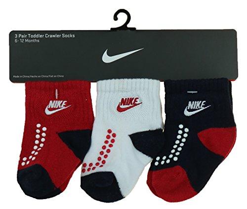 Nike Futura Boys Gripper 3-Pack Socks (6-12, Navy/Red/White)