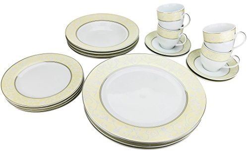 - Majestic Porcelain G1231, Silver-Plated Dinnerware Set, Dinner Service for Four, 20-Piece Set: 4 Dinner Plates, 4 Soup Plates, 4 Dessert Plates, 4 Tea Cups with 4 Saucers