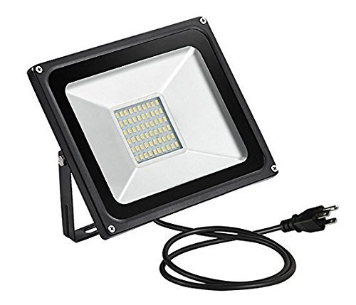 CHUNNUAN LED Flood Light,50W,5000LUMEN,2800-3200K Warm White, Waterproof, IP65, Instant On, CE and ROHS Certified,US 3-Plug Outdoor Security Lights Super Bright Floodlight (Light Wall 50w)