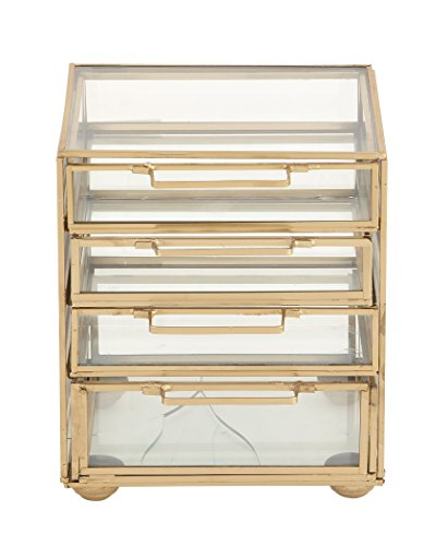 Deco 79 54292 Gold 4-Drawer Jewelry Chest, Clear