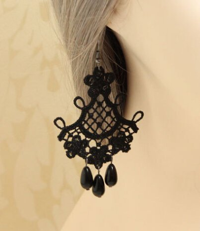 Jewelry 4 Lady New Arrival!! Handmade Retro Style Black Lace Dangle Earrings Costume Jewelry (Dangle Lace)