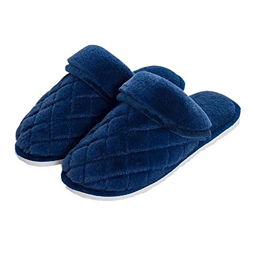 Womens All Plush Fur Slippers, Comfort House Slippers ,Nonslip,Softness &Terrycloth 016 Darkblue
