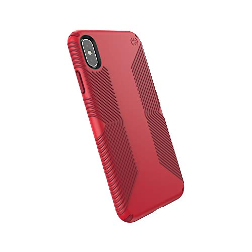 Speck Products Compatible Phone Case for Apple iPhone Xs Max, Presidio Grip Case, Heartrate Red/Vermillion Red
