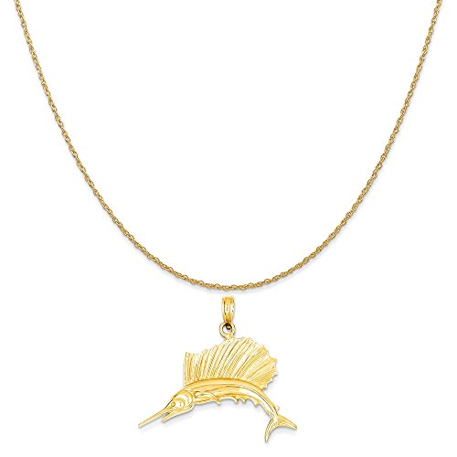 old Polished Sailfish Pendant on a 14K Yellow Gold Rope Chain Necklace, 20