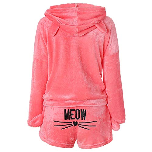 costumer first Hoodie Set Shorts Women Solid Color Warm Winter Set Two Piece Cute Cat Pajamas Hoodie Sleepwear ()