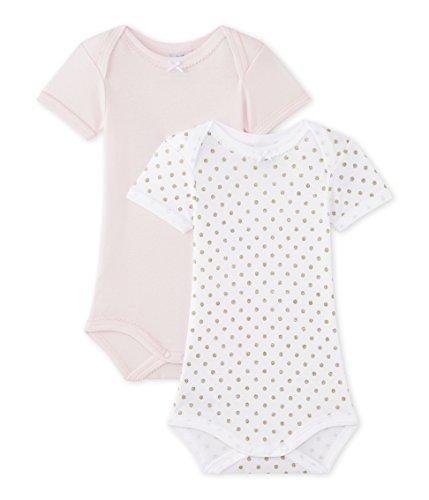 Petit Bateau Set of 2 Baby Girls Short Sleeve Bodysuits Style 43365 Sizes 3-36 Months (Size 36/M Style 43365 Girls Bodysuit)