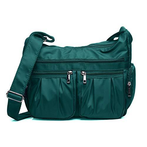 (Crossbody Bags for Women, Multi Pocket Shoulder Bag Waterproof Nylon Travel Purses and Handbags (8981-Lake Blue))