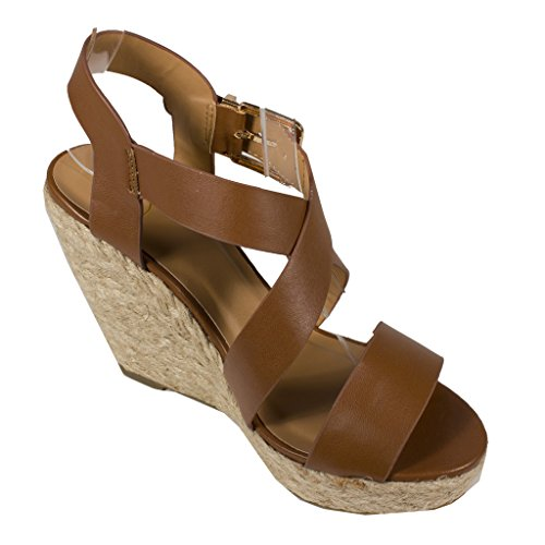 Delicious Women's Baymist Criss-Cross Strappy Open Toe Platform Espadrille Wedge Sandal with Ankle Buckle, dark tan leatherette, 6.5 M US