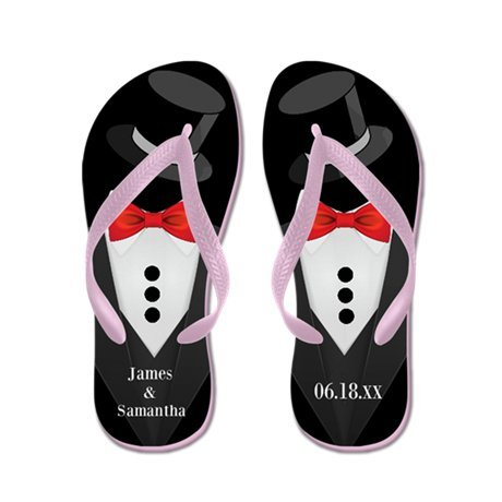 Lplpol Groom Tuxedo Custom Flip Flops for Kids Adult Beach Sandals Pool Shoes Party Slippers Black Pink Blue Belt for Chosen