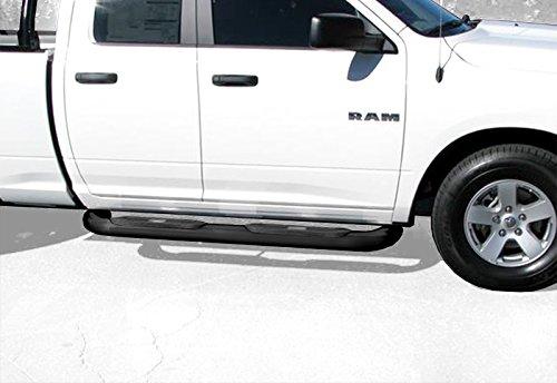 Premium Custom Fit 09-15 Ram 1500 Quad Cab 4inch Black Oval Bend Side Step Nerf Bars Running Boards (2pcs with Mounting Bracket Hardware Kit)