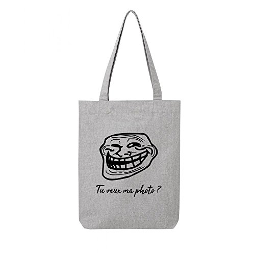 Tote recycle troll toile en face bag gris r8xC8aqp1w