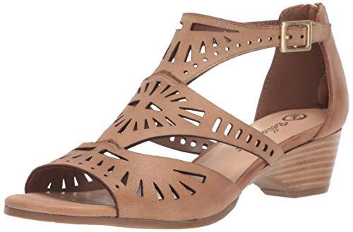 Bella Vita Women's Penny Cutout Sandal with Back Zipper Shoe, Saddle Burnish Leather, 7.5 2W US