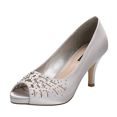 ERIJUNOR E1941 Women Peep Toe Comfort Low Heel Platform Rhinestones Satin Wedding Bridal Evening Dress Shoes Silver Size 11