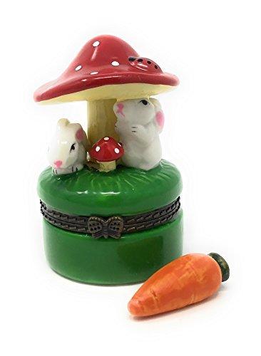 (Porcelain Bunnies Under Mushroom Trinket Box, Tiny Trinket Inside, 2.25 Inches Tall)