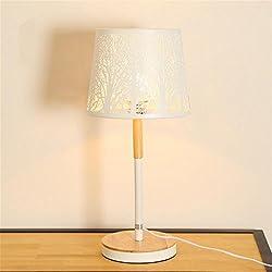 Modern minimalist LED creative carved living room wood table lamp bedside lamp bedroom wooden table lamp , B