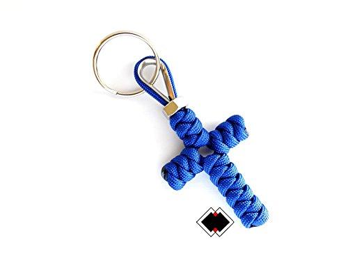 Cross keychain - 550 Paracord - Blue - Handmade in USA -