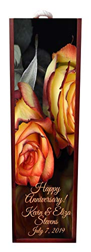 Jacks Outlet Happy Anniversary Peach Roses Wine Box Personalized - Wine Box Rosewood with Slide Top - Wine Box Holder - Wine Case Decoration - Wine Case Wood - Wine Box Carrier ()