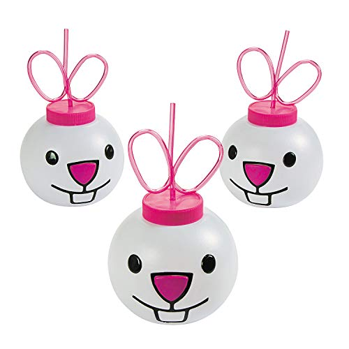 (Fun Express - Molded Bunny Cup W/lid & Straw for Easter - Party Supplies - Drinkware - Sipper & Molded Cups - Easter - 12 Pieces)