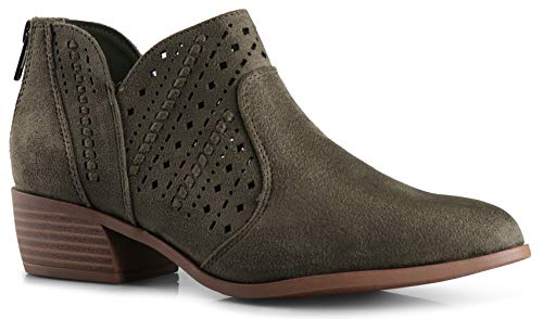LUSTHAVE Perforated Laser Cut Out Stacked Chunky Low Heel Ankle Bootie - Side V-Cut Back Zipper Boots Light Khaki