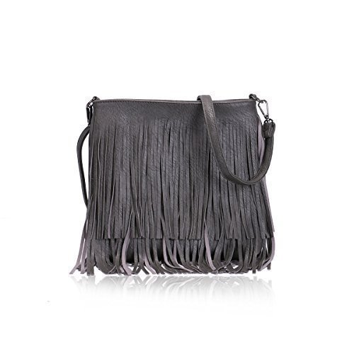 Handbags Womens Faux Shoulder Fashion Tassel Ladies Crossbody Dark E22 Strap Leather Grey Adjustable AHwc1OrwqZ