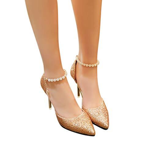 Beau De Pointu Femmes Talons Une Aux Or Hauts Boucle Des Sandales Mot Bout Pour Talon Luckycat Loisir Chaussures Les wFORZqqB