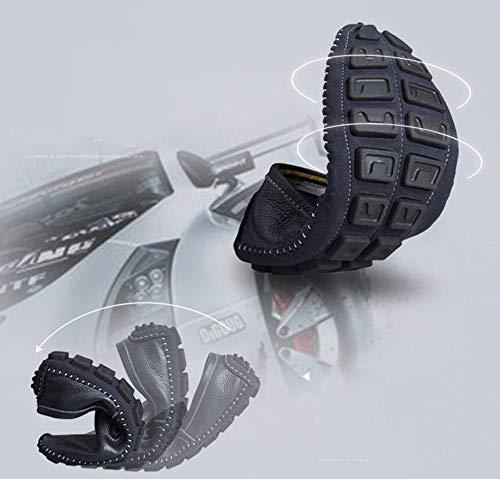Hy 42 Scarpe Suola Slip Casual Uomo Scarpe Flat Business Comfort Da On Uomini black Morbida Pelle Mocassini Guida In Barca Driving RqrR4v